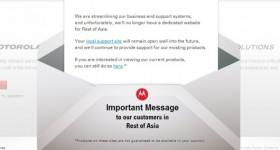 Motorola Asia's Website Closure Notice