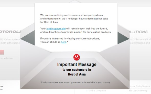 Motorola Asia's Website Closure Notice