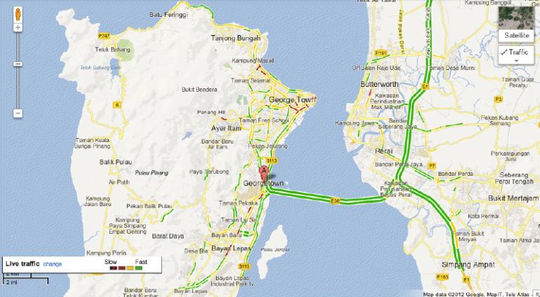 Google Maps Live Traffic Penang