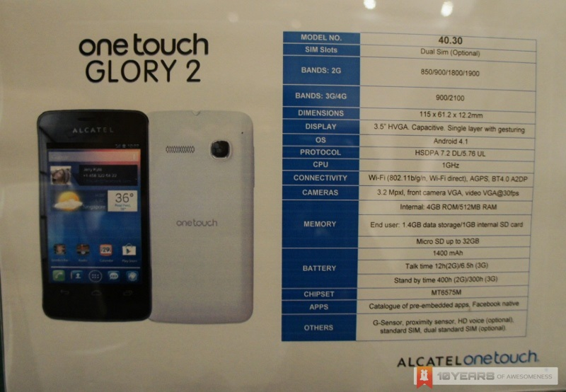 First Look  Alcatel One Touch Glory 2 4030  Budget