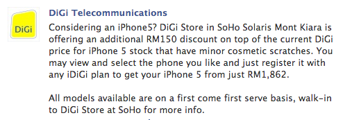 DiGi iPhone 5 RM150 off