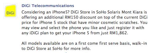 DiGi iPhone 5 RM150 off