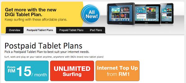DiGi Postpaid Tablet Plans