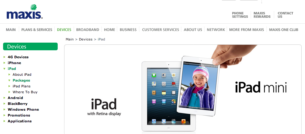 Maxis iPad and iPad Mini