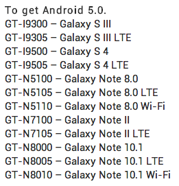 Samsug Galaxy Update List 2