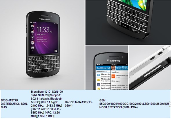 BlackBerry Q10 on SIRIM database