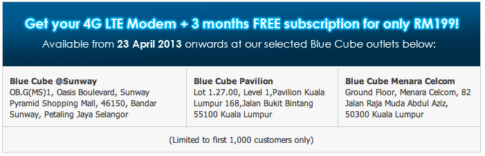 Celcom 4G LTE Blue Cube Locations