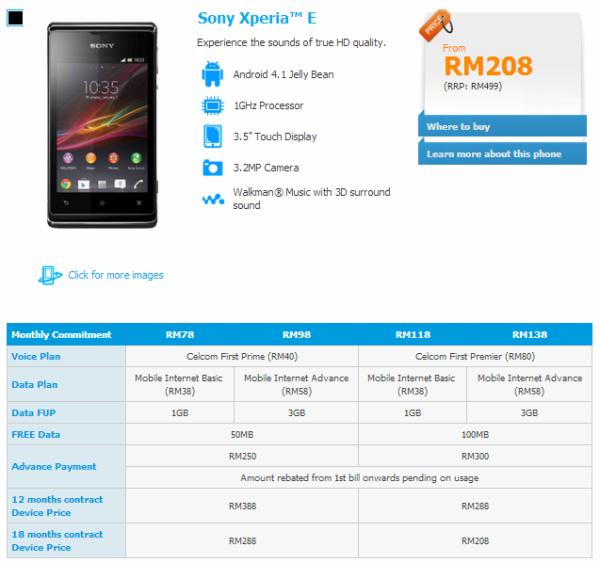 Celcom Sony Xperia E Details