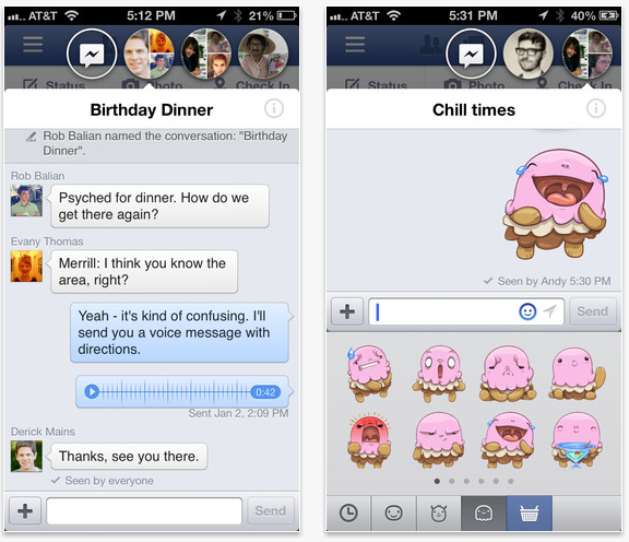 Facebook iOS Chat Head and Stickers