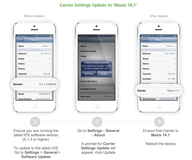 iphone carrier settings update how to activate lte on your maxis iphone 5 and 15210