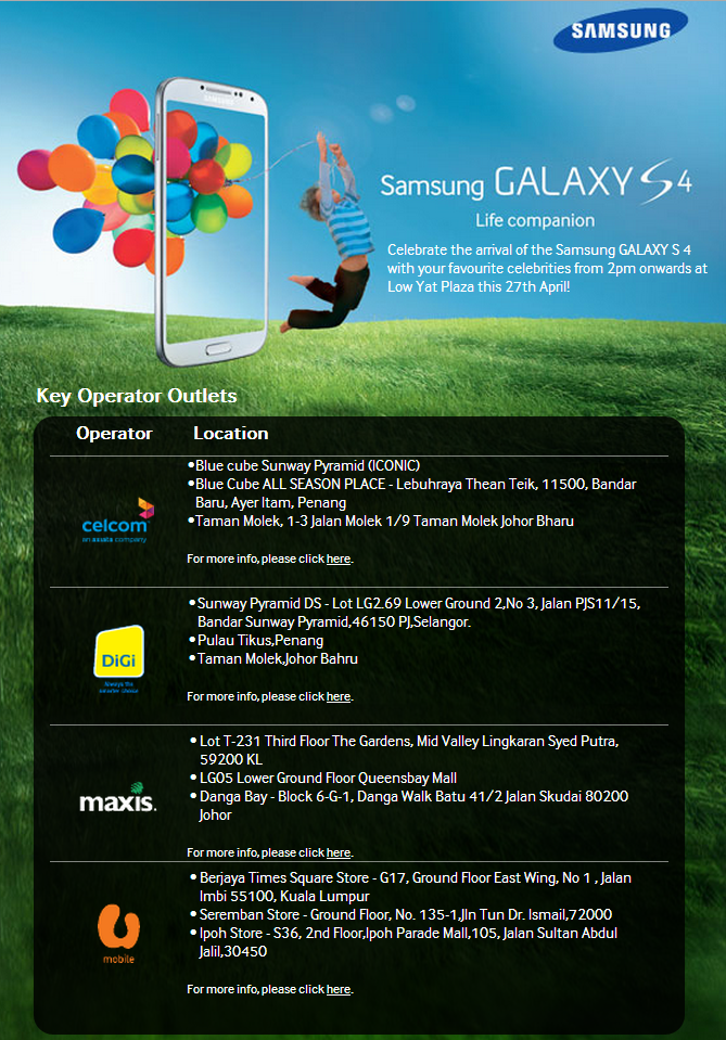 Samsung Galaxy S4 Launch Details