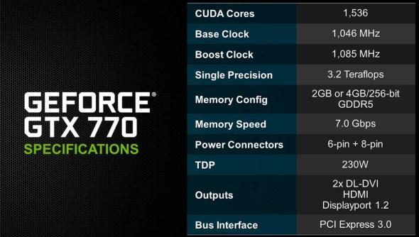 NVIDIA GeForece GTX 770 Spec