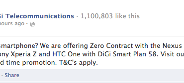 DiGi Zero Contract FB Announcement