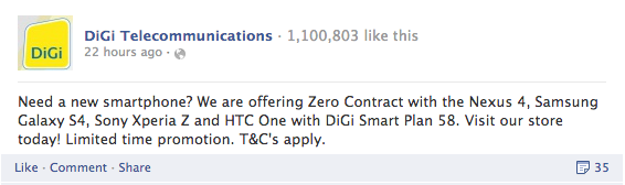 DiGi Zero Contract FB Announcement