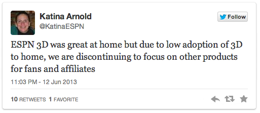 ESPN Killing 3D Tweet