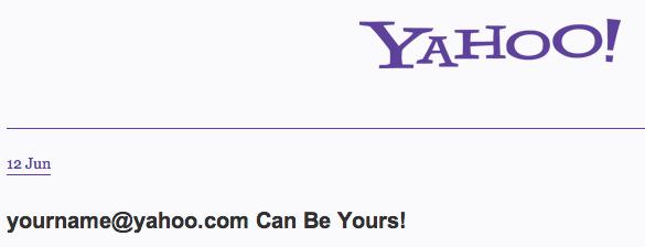 Yahoo Frees up ID