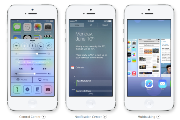 iOS 7 Control Center, Notification and Multitasking