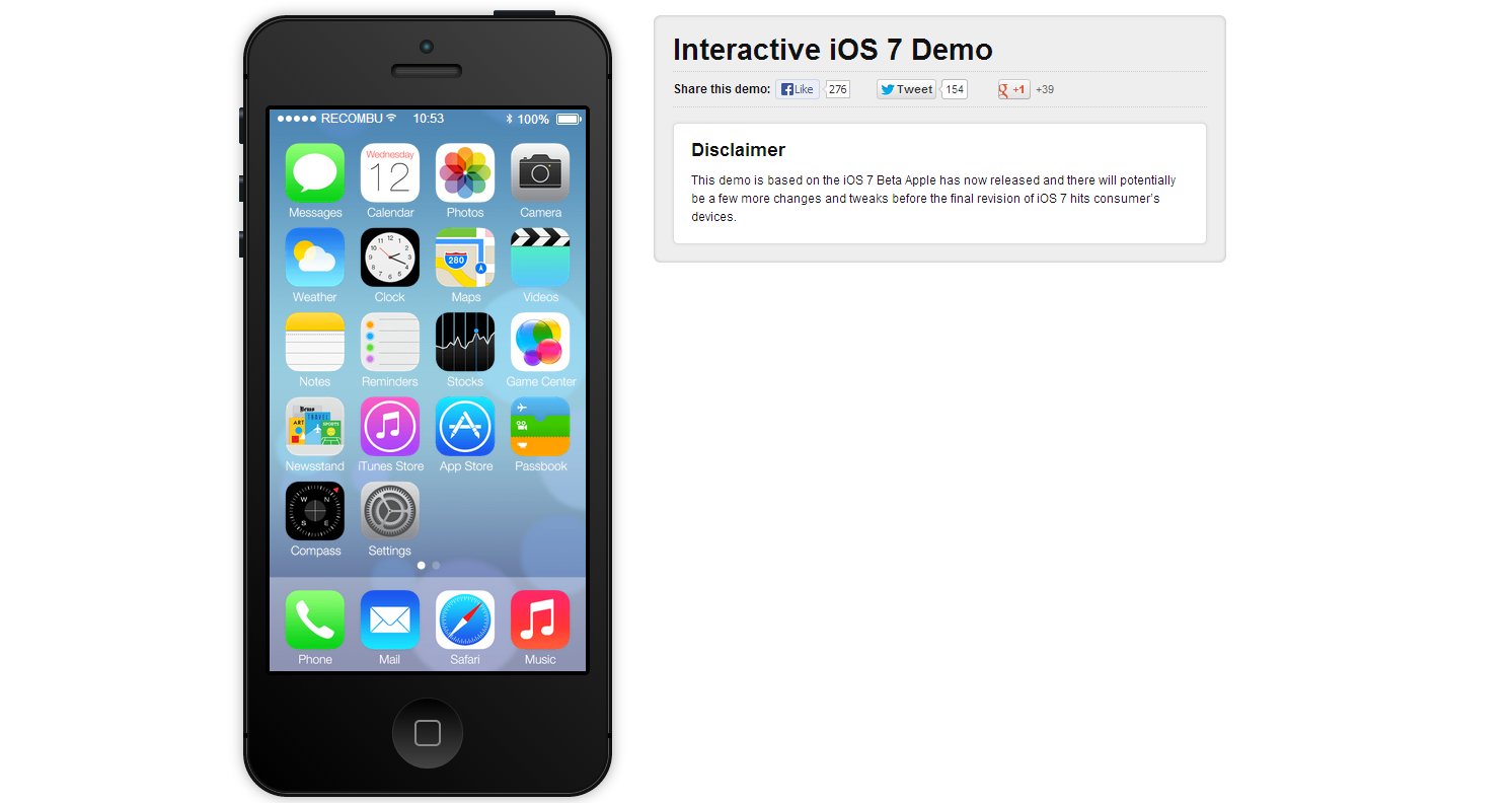 iOS 7 Interactive Demo