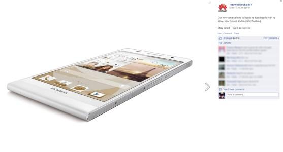 Huawei Ascend P6 teaser @ Huawei Malaysia's Facebook