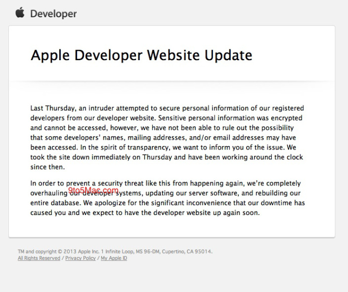 Apple Developer Center Outage