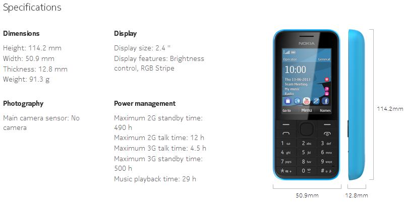 Nokia 207 Specs
