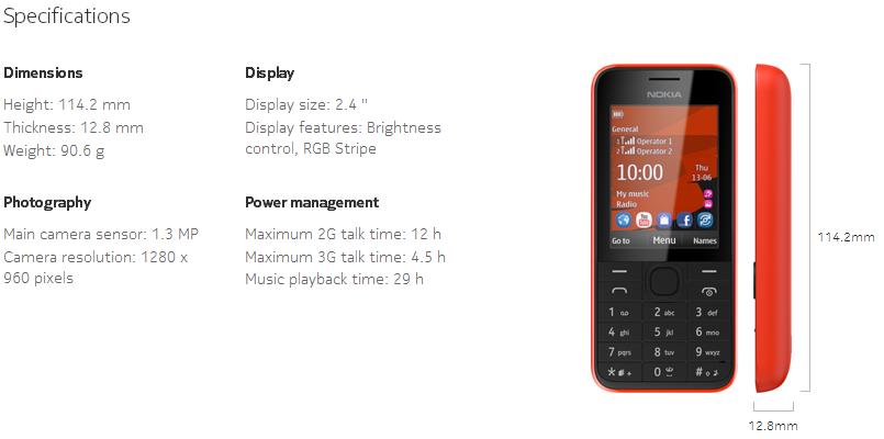 Nokia 208 Dual Sim Specs