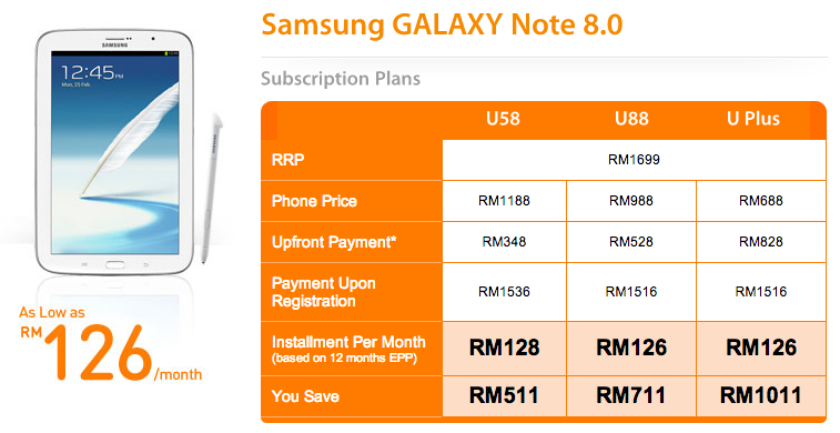 U Mobile Note 8 Plans