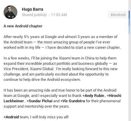 Hugo Barra G Plus to Join Xiaomi