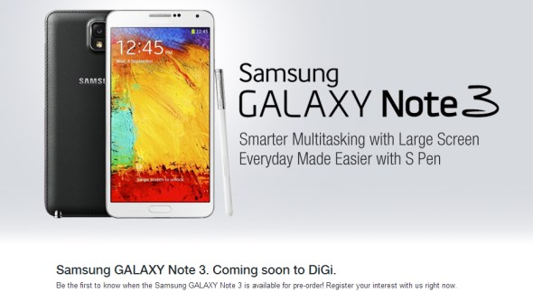 DiGi's Registration Of Interest Page for Samsung Galaxy Note 3
