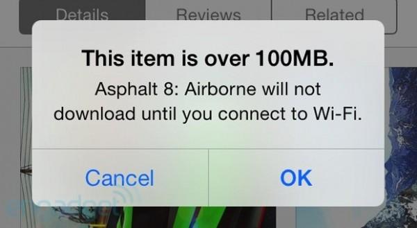 App Store 100MB download limit