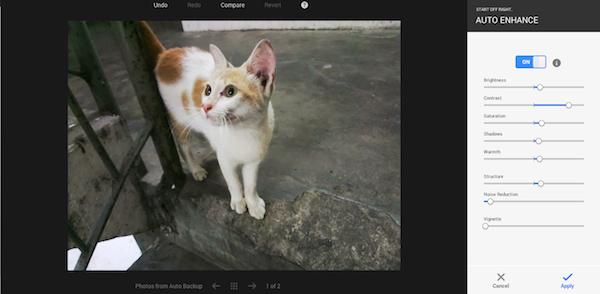 Google Photo Auto Enhance
