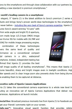Sony Z1 PR