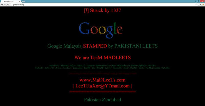 Google Malaysia Domain Hijacked - 11 October 2013