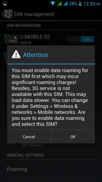 Dual SIM data settings