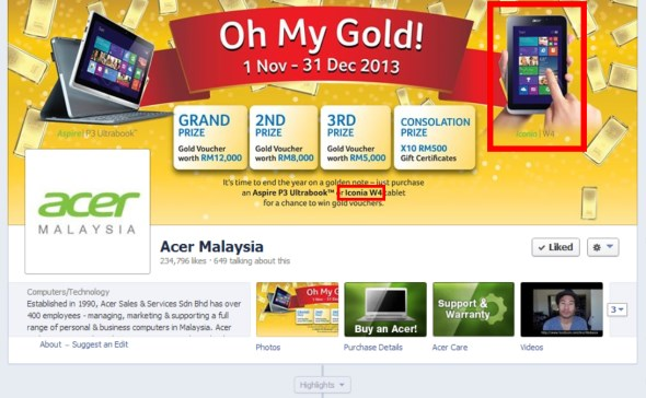 Acer Malaysia Facebook Page