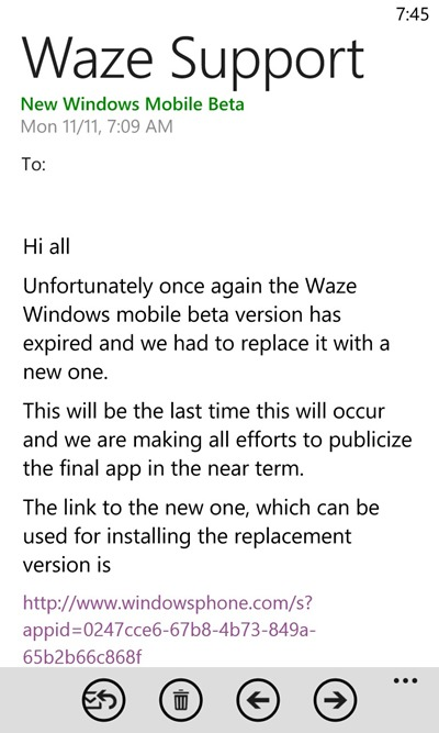 """Report: Public Release of Waze for Windows Phone is """"in the"""