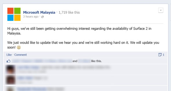 Microsoft Malaysia's Facebook Page Comment On Surface 2, 2 December 2013
