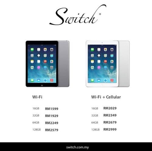 Apple iPad Air Price List - Switch