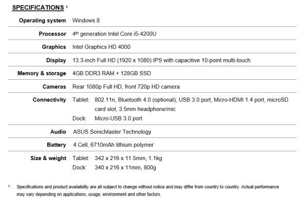 ASUS Transformer Book T300 Specifications