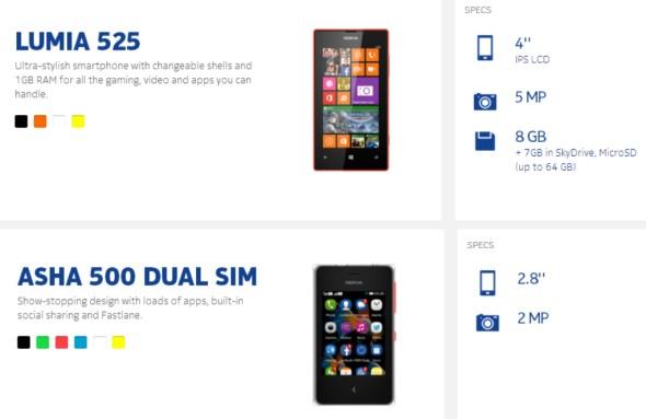 Nokia Lumia 525 and Asha 500