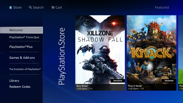 PlayStation Store for PlayStation 4