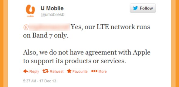 No Support for Apple Devices on U Mobile LTE Network