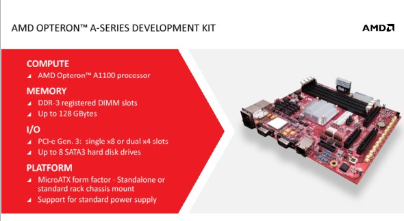 AMD Opteron A-Series Dev Kit Featuring AMD Opteron A1100 ARM-Based Processors for Servers
