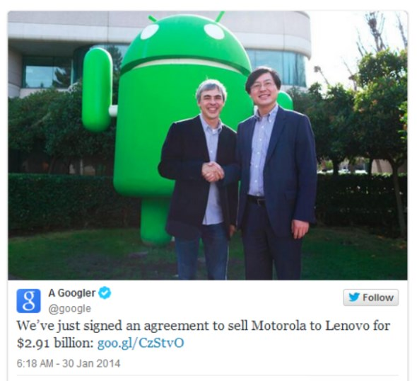 Lenovo Acquire Motorola Mobility From Google