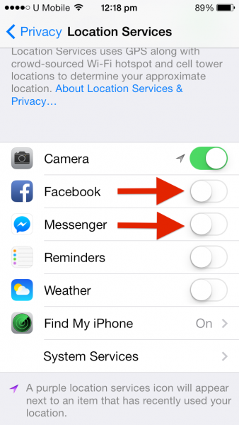 2 iOS Turn off Locatio Service FB n FB Messenger