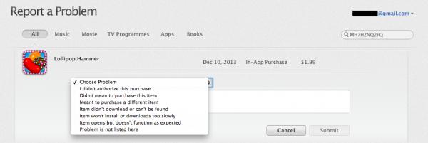 Apple Report a Problem Web