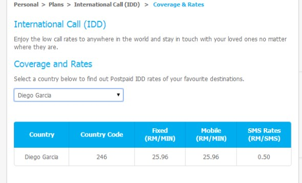 Call Charges for Diego Garcia on Celcom IDD