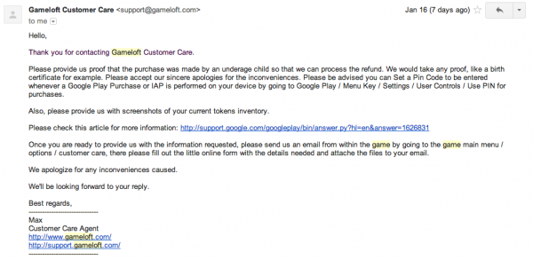 Gameloft Request for Proof of Underage Child