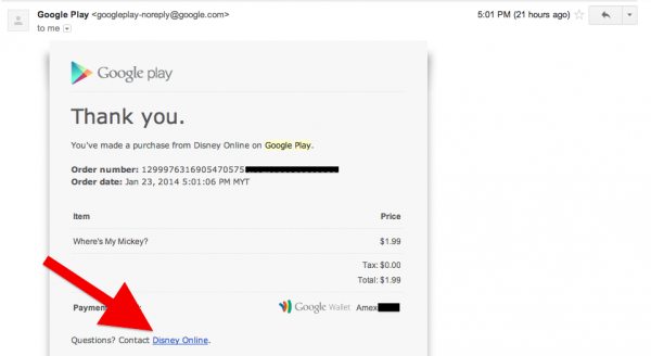 Google Play Receipt