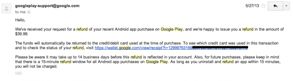 Google Play Refund Successful